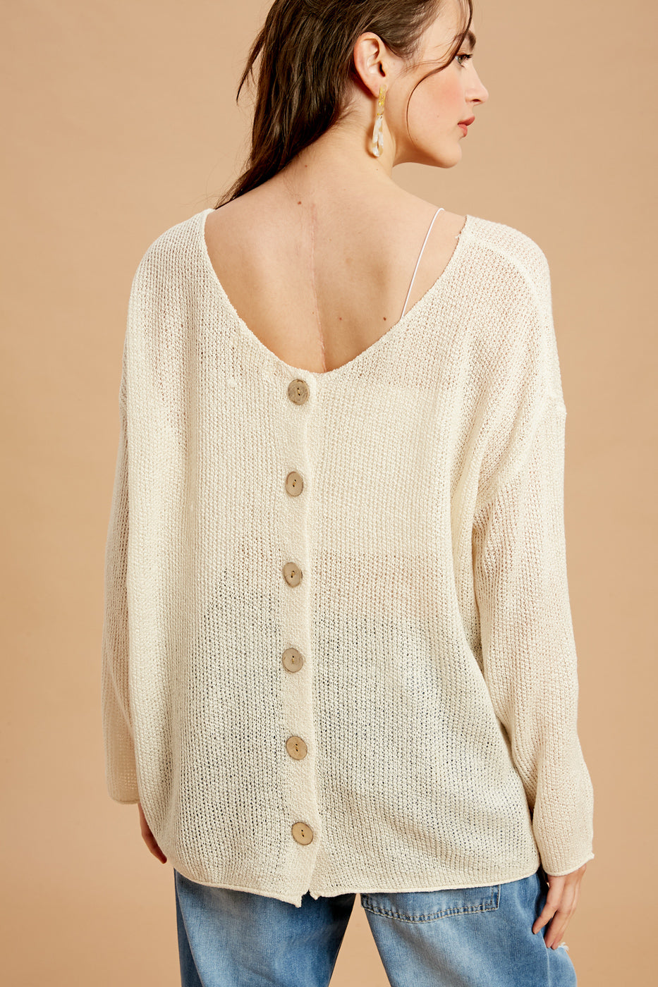 Beige Button Back Sweater