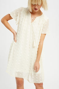 Cream Pom Shift Dress