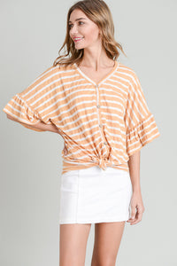 Orange & White Striped Top