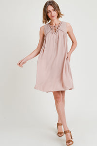 Blush Embroidered Swing Dress
