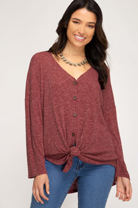 Cranberry Button Down Top