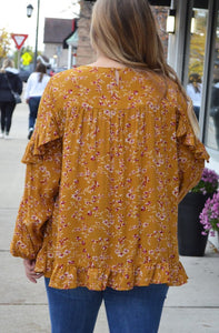 Mustard Floral Blouse