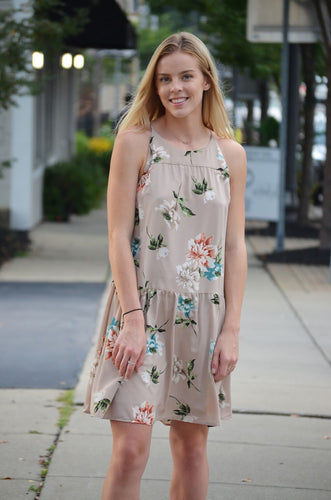 Tan Floral Peplum Dress