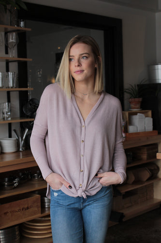 Knit Lavender Button Down Top