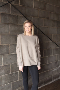 Light Grey Sweatshirt w Button Sleeve