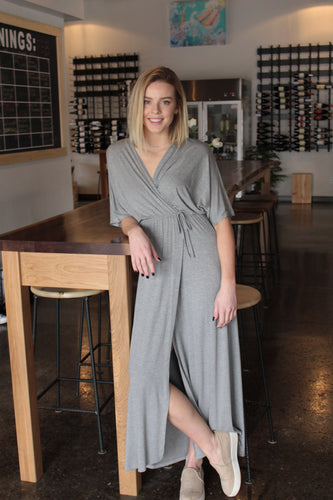 Grey Tie Maxi Dress