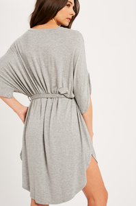 Grey Belted T-Shirt Dress