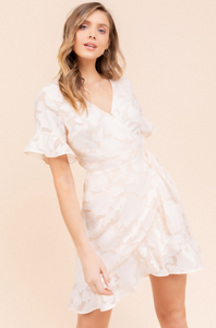Cream Ruffle Floral Dress