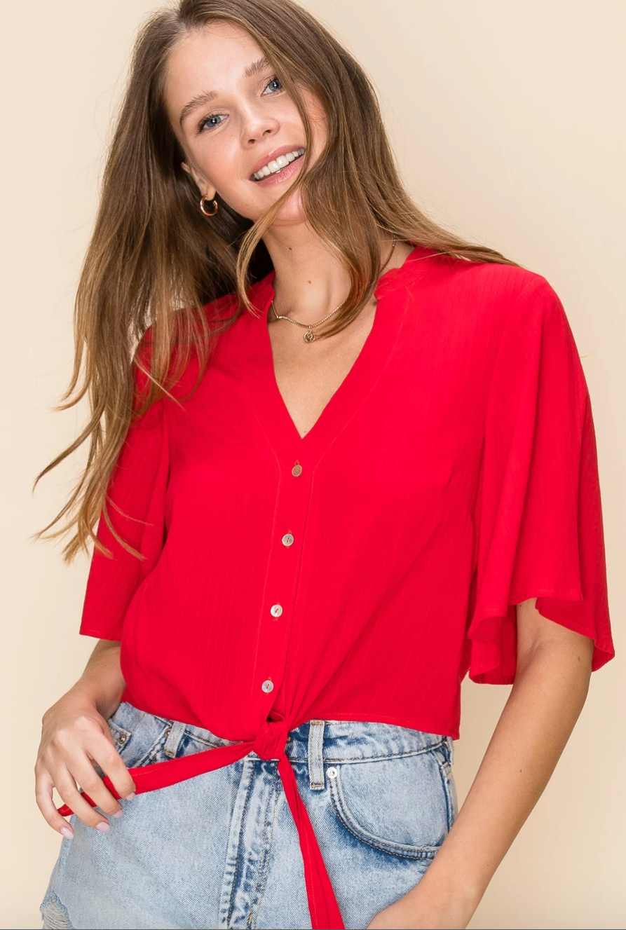 Red Button Down Top