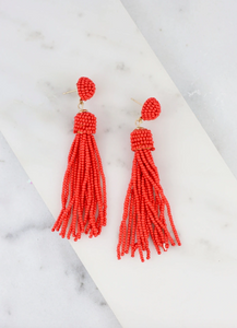 Orange Beaded Tassel Earrings