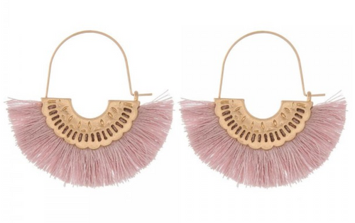 Pink Lavender Fringe Earrings