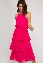 Cherry Pink Pleated Dress