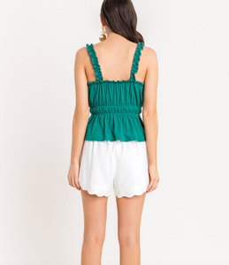 Green Frilled Tank Top