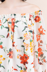 Cream OTS Floral Top