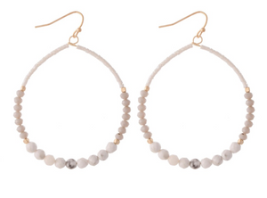 White & Grey Beaded Hoop Earrings