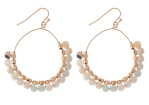 Random Beaded Drop Hoop Earrings