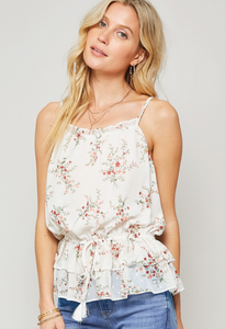 White Floral Ruffle Tank Top