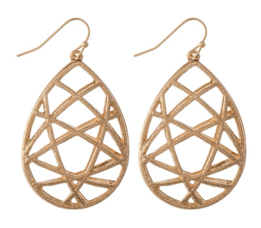 Metal Woven Teardrop Earrings