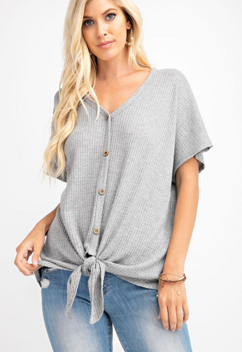 Grey Waffle Button Down