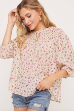 Cream & Purple Floral Top