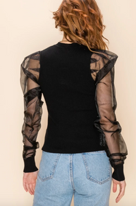 Sheer Balloon Sleeve Top