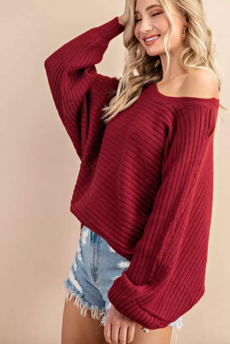 Wine Ribbed OTS Sweater