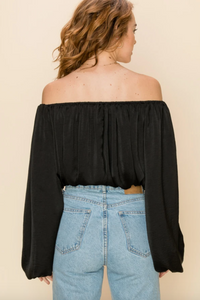 Black Satin OTS Top