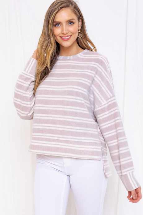 Taupe Striped Sweater