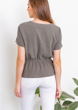 Olive Surplice Top