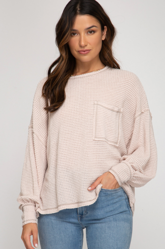 Waffle Knit Cream Top