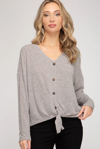 Oatmeal Button Top