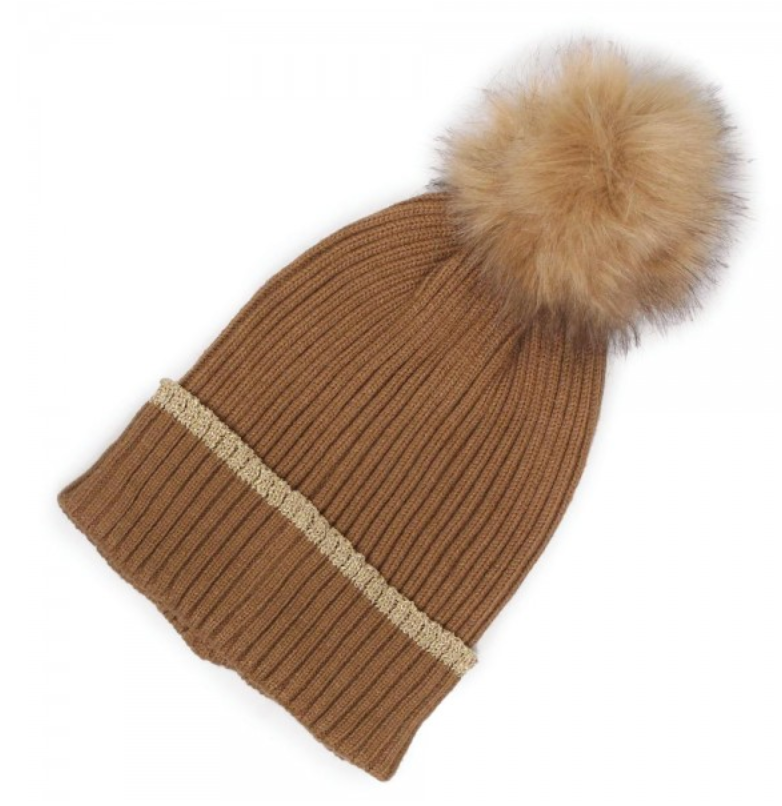 Camel Striped Beanie