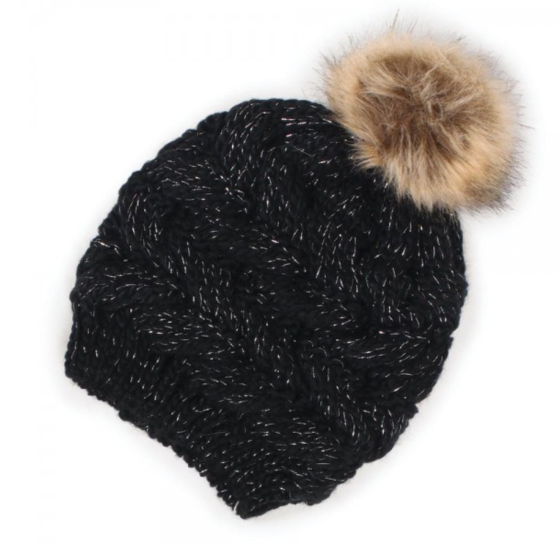 Black Knit Metallic Beanie