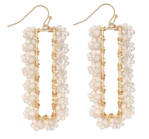 Natural Beaded Bar Earrings