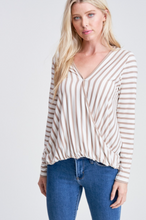 Grey Striped Surplice Top