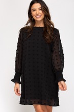 Black Dotted Swing Dress
