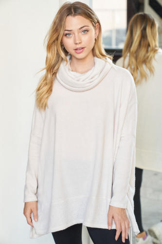 Oatmeal Oversized Cowl Neck Sweater