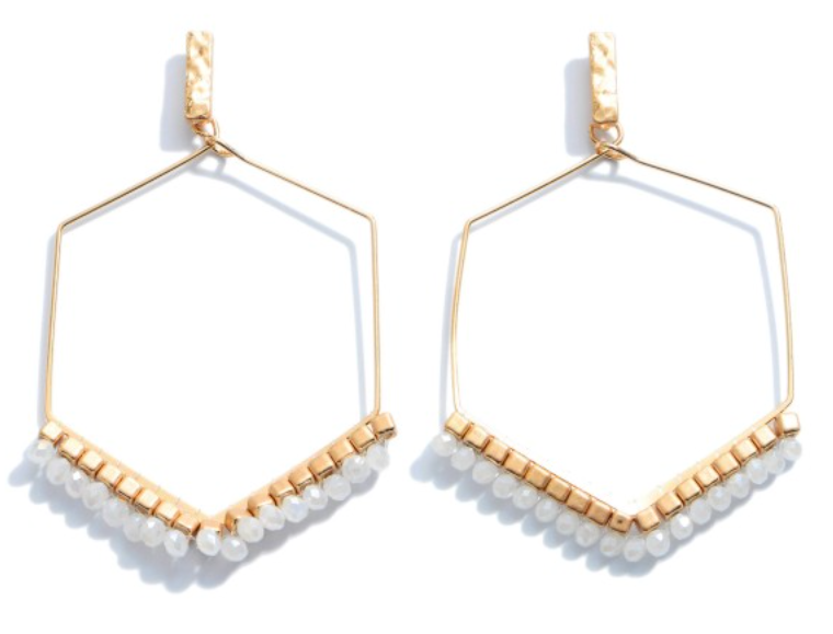 White Beaded Hexagon Earrings