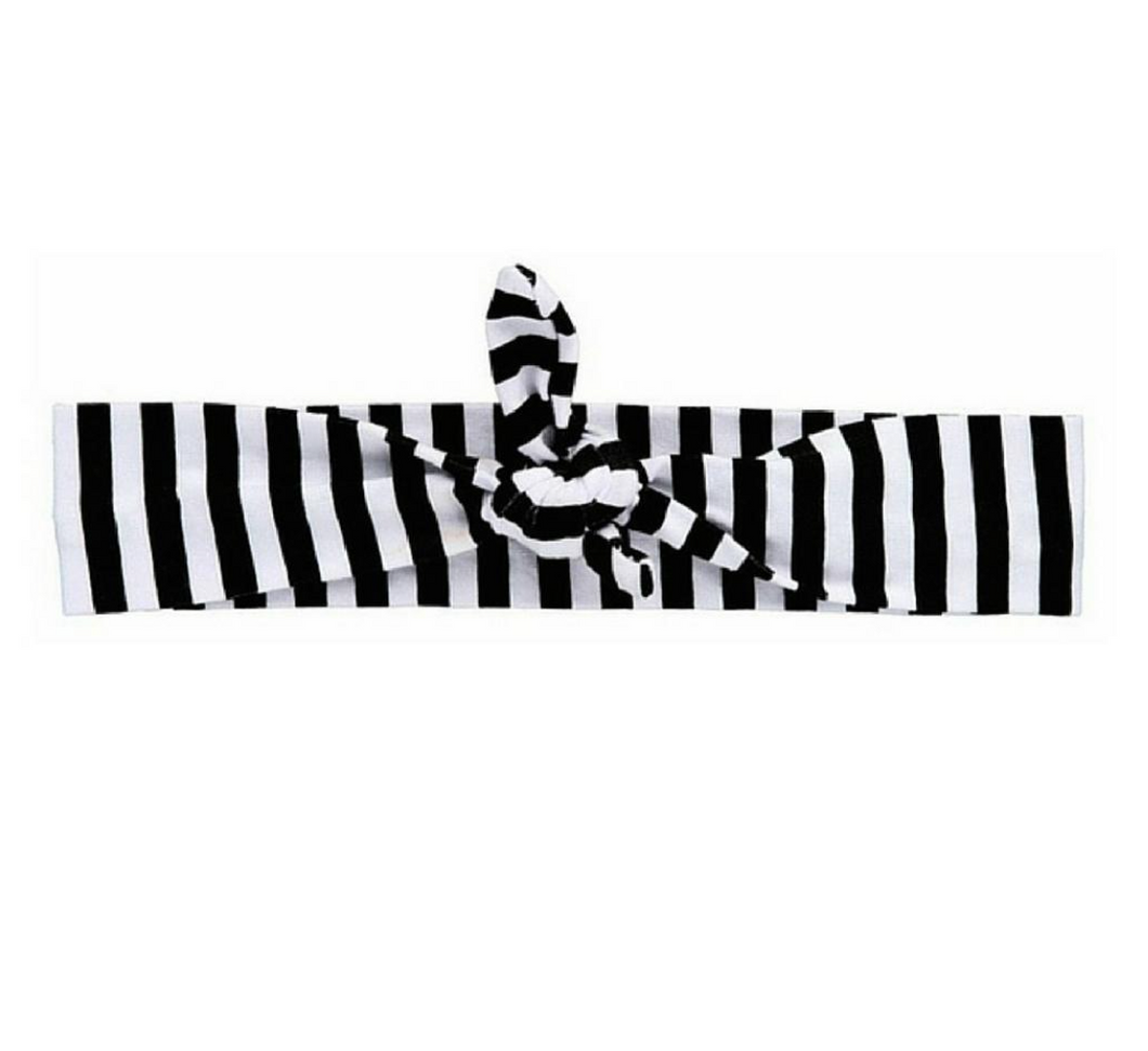 Black Striped Knotted Headband