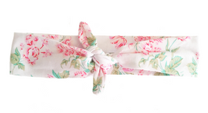 White Floral Knotted Headband