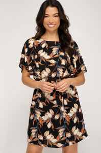 Black Pattern Dress Short Sleeve