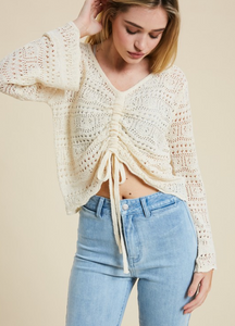 Tan Cinched Sweater