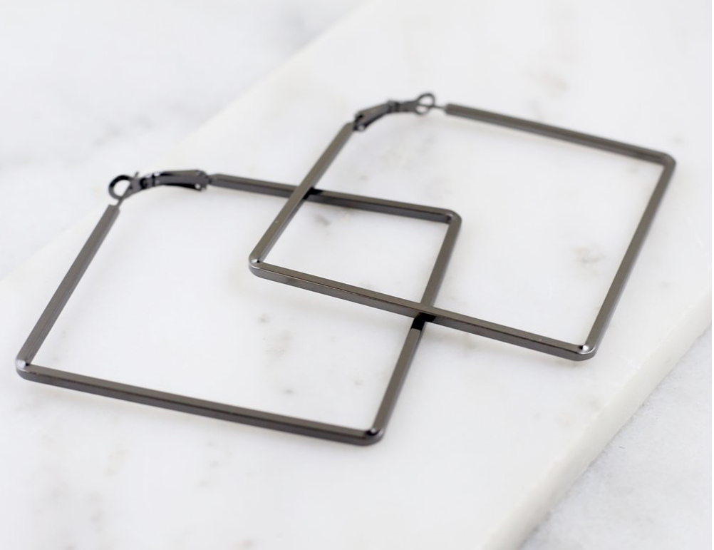 Black Square Hoop Earrings