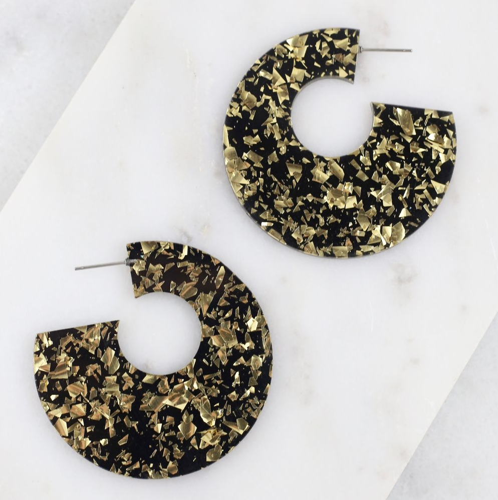Black & Gold Resin Hoop Earrings