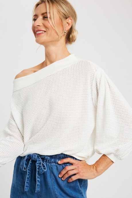 White OTS Knit Top
