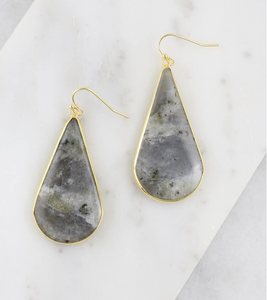 Gray Stone Teardrop Earrings