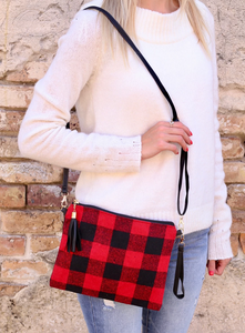 Red Plaid Crossbody Bag