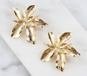 Gold Flower Post Earrings