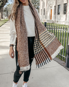 Brown Lines & Check Scarf