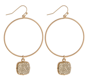 Gold Hoop Earrings Druzy Drop